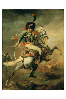 VINTAGE FRENCH GERICAULT HORSEman poster in UNIFORM rare 24X36