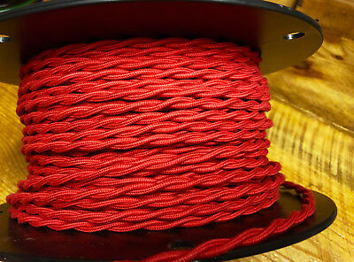 Red Twisted Cotton Cloth Covered Wire, Vintage Style Lamp Cord, Antique Lights