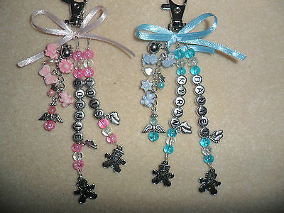 Twins Personalised Baby Changing Bag Pram Charm Name & Angel