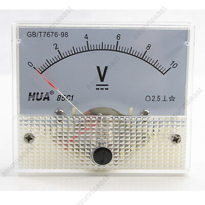 1 × DC 10V Analog Panel Volt Voltage Meter Voltmeter Gauge 85C1 White 0-10V DC