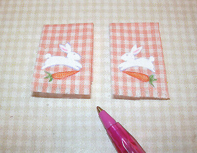 Miniature Easter Bunny Kitchen Towels (2) Orange Gingham DOLLHOUSE Miniatures