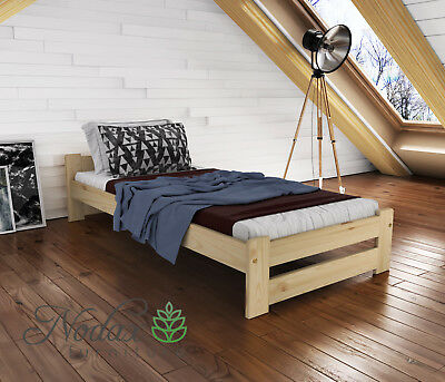 "*NODAX* Wooden Furniture Solid Pine Single Bed Frame 3ft Colours - ""F3"""