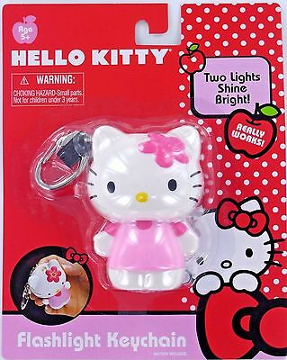 Hello KITTY Flashlight Keychain Keyring Sanrio Pink NEW Flower Battery LIGHTS UP