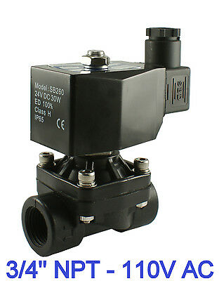 """3/4"""" NPT Normally Closed Plastic Air Water Electric Solenoid Valve 110V AC"""