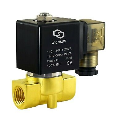 "3/8"" Normally Closed Pneumatic Brass Air, Water Electric Solenoid Valve 110V AC"