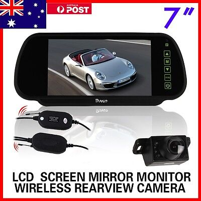 "Wireless Car Rear View Kit 7"" Lcd Mirror Monitor + Ir Reversing Camera 6Led"