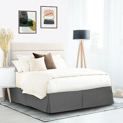 """Pleated Egyptian Solid Bed Skirt Luxury Microfiber Dust Ruffle 14"""" Tailored Drop"""