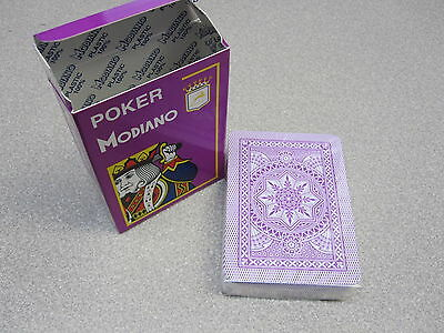Modiano Italian 100% Plastic Poker Game Playing Card Deck Large Index Purple NEW