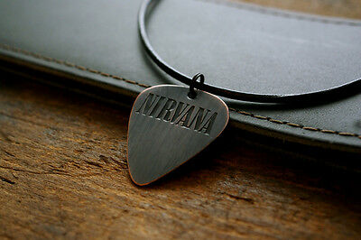 Handmade Etched Copper Nirvana Guitar Pick Necklace - Charity Donation Sale