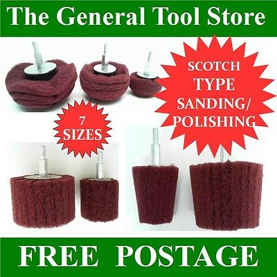Scotch Type Sanding Polishing Mops For Wood Or Metal Fits Mains Or Battery Drill