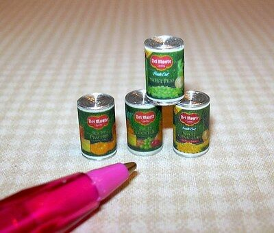 Miniature Quality Brand Canned Foods (Set of 4): DOLLHOUSE Miniatures 1:12 Scale