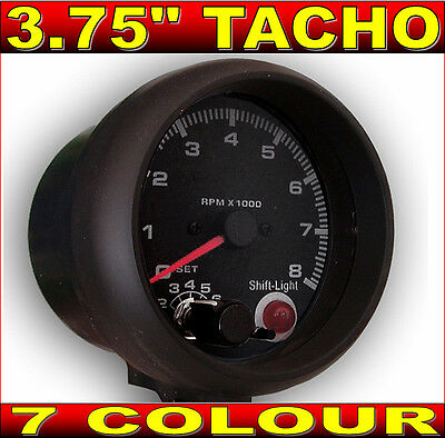 "3.75"" INCH TACHO TACHOMETER GAUGE 7 COLOUR iLLUMINATION & SHIFT LIGHT"