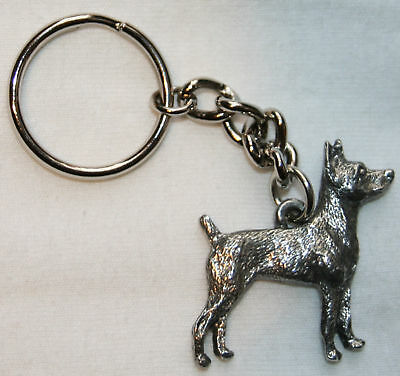 RAT TERRIER Dog Fine Pewter Keychain Key Chain Ring