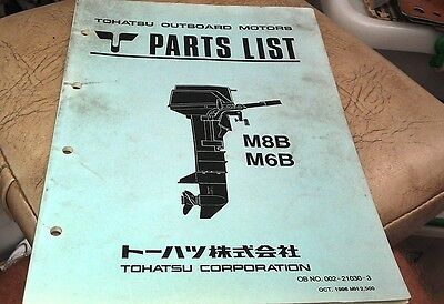 1996  TOHATSU M8B M6B  Outboard Factory Parts Book