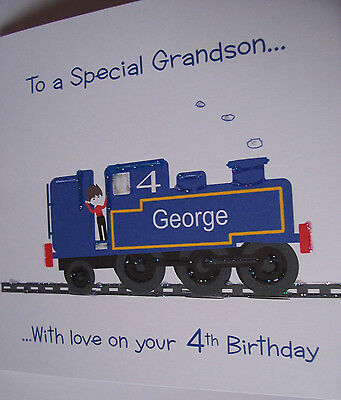 PERSONALISED  HANDMADE *TRAIN* BIRTHDAY CARD.GRANDSON,SON,etc1st,2nd,3rd 4th.5th