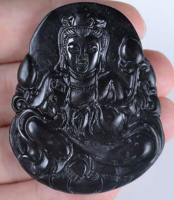 Kwan Yin (Gyanyin) - Black Jade Handcarved Pendant - Ming Dynasty 17th Century