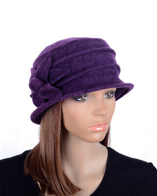 M29 Elegant 9-Leaf Flower Warm Wool Women s Winter Dress Hat Beanie Cap  PURPLE 2c1329196e0b