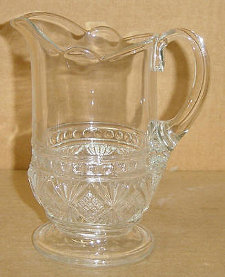 EAPG CRYSTAL MELROSE FOOTED CREAM PITCHER GREENSBURG GLASS 1887
