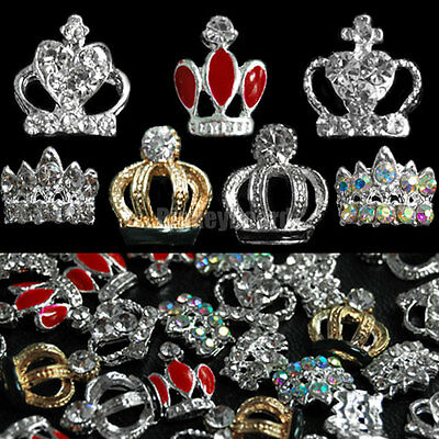 10pcs Crown Alloy Crystal Rhinestones Glitters for 3D Nail Art Tips Decoration