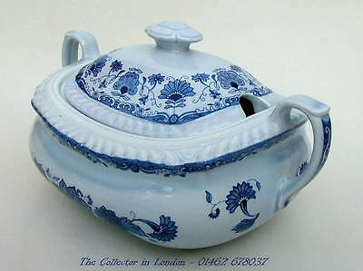 Vintage 1970's Adams Blue Butterfly Vegetable or Soup Tureen Slotted Lid in VGC