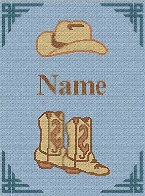 Cowboy Boots and Hat *PERSONALIZED* Crochet Pattern Graph