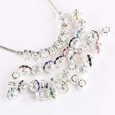 Silvery Crystal Rhinestone Disco Ball Charms European Dangle Beads For Bracelet
