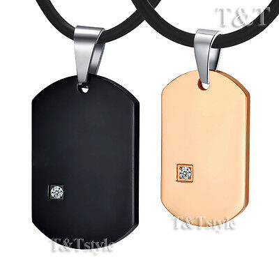 Top Quality T&T Stainless Steel Dog Tag Pendant Necklace For Couple Two Chains