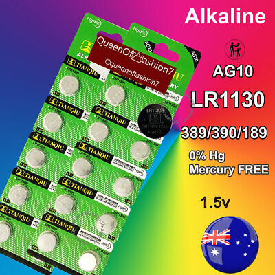 20X LR1130 Battery (AG10/390) QueenOf7 1.5V Alkaline Batteries Local Stock