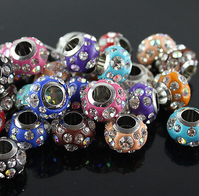 WHOLESALE  AUSTRIAN CRYSTAL STAINLESS STEEL EUROPEAN CHARMs BEADS FIT BRACELETs