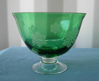 """7"""" x 5.5"""" New FTD Hand Blown Green Glass Bowl! Clear Pedestal! FREE SHIPPING!"""