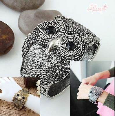 Ancient Silver Plated Gold Plated Pretty Stylish Wide Black Eyes Owl Bracelets