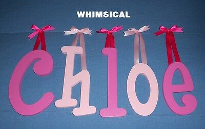 """Wood Letters 8"""" size Painted Wooden Wall Hanging Nursery Playroom Name Decor"""