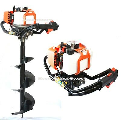 """52cc Gas Power One Man Post Hole Digger Earth Driller w/ 2 Bit 10"""" & 8"""" Bits"""