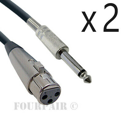 """2 Pack Lot - 10ft XLR 3-Pin Female to 1/4"""" Mono Shielded Microphone Mic Cable"""