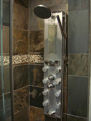 HWS BATHROOM ALUMINUM 8 JETS SHOWER PANEL W SPOUT 1038