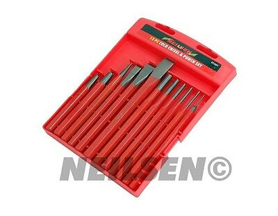 12 Pc Punch And Chisel Tool Set , Chisels, Pin Punches, Tapered Garage Tool New