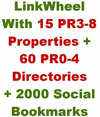Link Wheel w/15 PR3-8 Web 2.0 + 60 Article Directories + 2,000 Social Bookmarks
