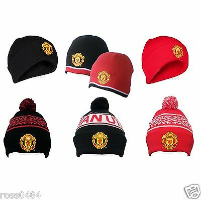 Manchester United Official Hat Selection Beanie Bronx Black Red Adult & Kids