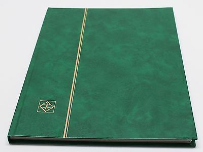 GREEN 16 Page Hardcover Stamp Stock Book, WHITE Pages, Double Glassine, 9 Strips