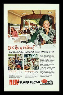 "1948 New York Central Railroad ""what's New On The Menu"" Print Ad"