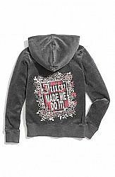 Juicy Couture~Girls Grey Heather Prestige Made Me Do Velour Hoodie Jacket~7~Nwt