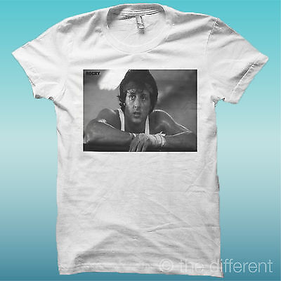 """T-Shirt """" Rocky Balboa Traning 2 """" Bianco The Happiness Is Have My T-Shirt New"""