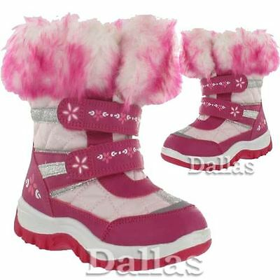 Girls Winter Boots New Kids Fur Thermal Snow Ski Apres Infants Boots Shoes Size
