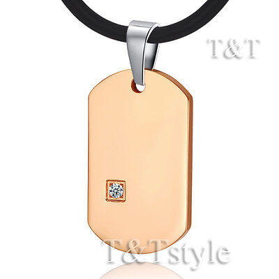 T&T 9K Rose Gold GP Stainless Steel Dog Tag Pendant Necklace With CZ (NP188)
