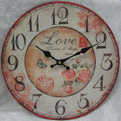 34cm Rustic French Provincial Country Wall Clock Paris Love Believes All Things