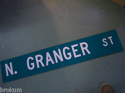 LARGE Vintage  N. GRANGER ST STREET SIGN 48 X 9 WHT LETTERING ON GRN BACKGROUND