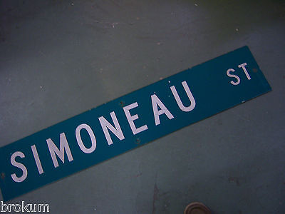 LARGE Vintage  SIMONEAU ST STREET SIGN 48 X 9 WHT LETTERING ON GRN BACKGROUND