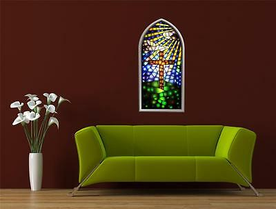 Wall Art sticker - Full Colour - Stained Glass Window, Christian - Church