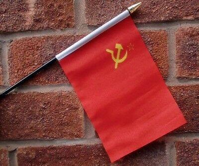 "USSR HAND WAVING FLAG Small 6"" x 4"" with black pole U.S.S.R. Russia Communist"