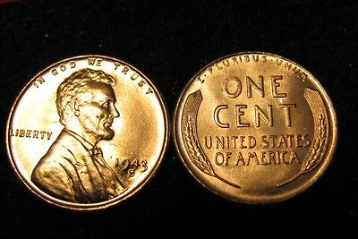 GEM BU white 1943-S  Lincoln  Cent  FREE SHIPPING